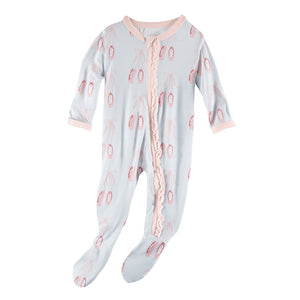 PRE-SALE! Kickee Pants Print Muffin Ruffle Footie with Zipper-Fresh Air Ballet