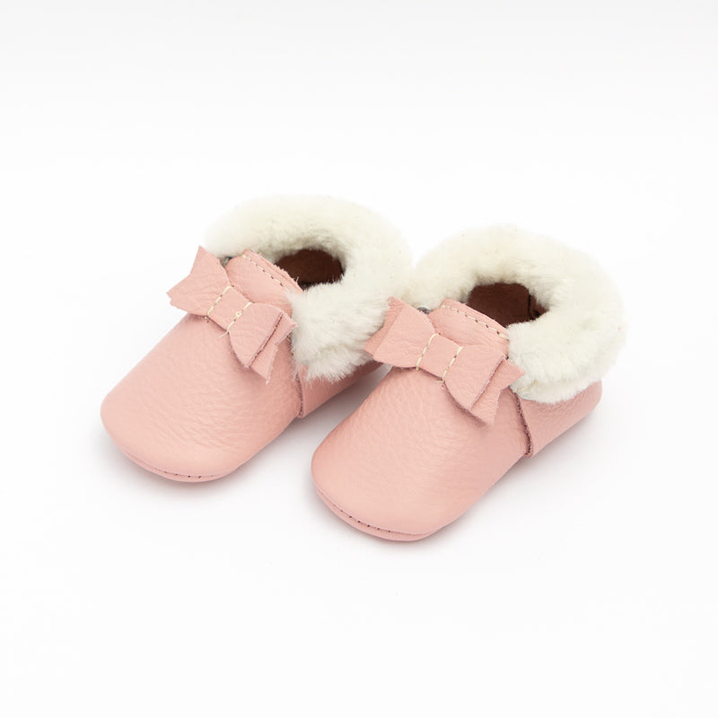 Freshly Picked Blush Shearling Bow Moccasin