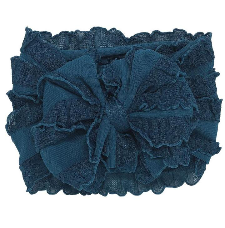 Ruffled Headband-Teal
