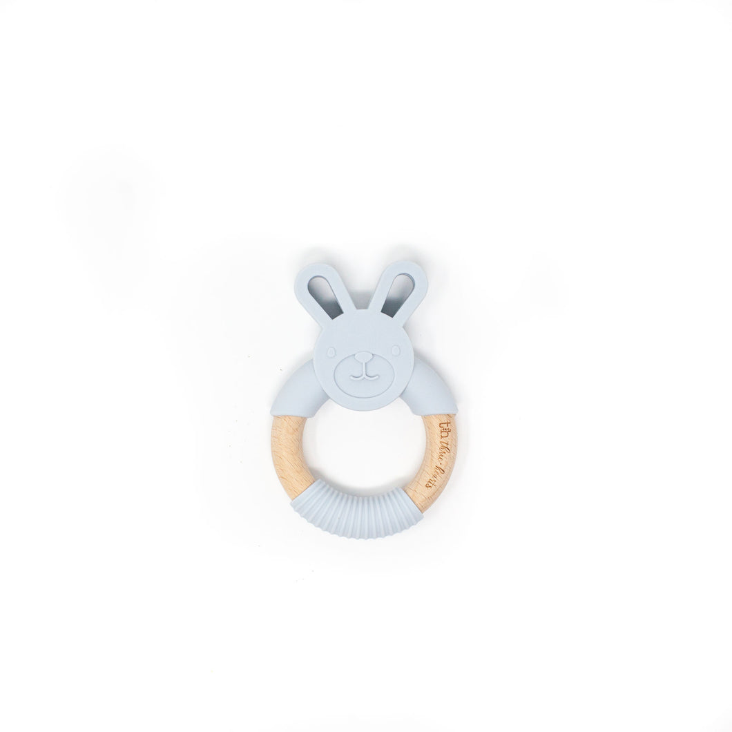 Three Hearts Bunny Teether - Light Gray