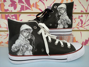 SCARPA DRAWING skull paint - STREET STYLE PRINT stampa personalizzata