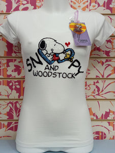 TS590TSW SNOOPY PAILETTES - TOONS T-SHIRT DONNA - STREET STYLE PRINT stampa personalizzata