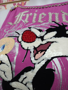 WX931TSW FRIENDS - LOONEY TUNES T-SHIRT DONNA - STREET STYLE PRINT stampa personalizzata