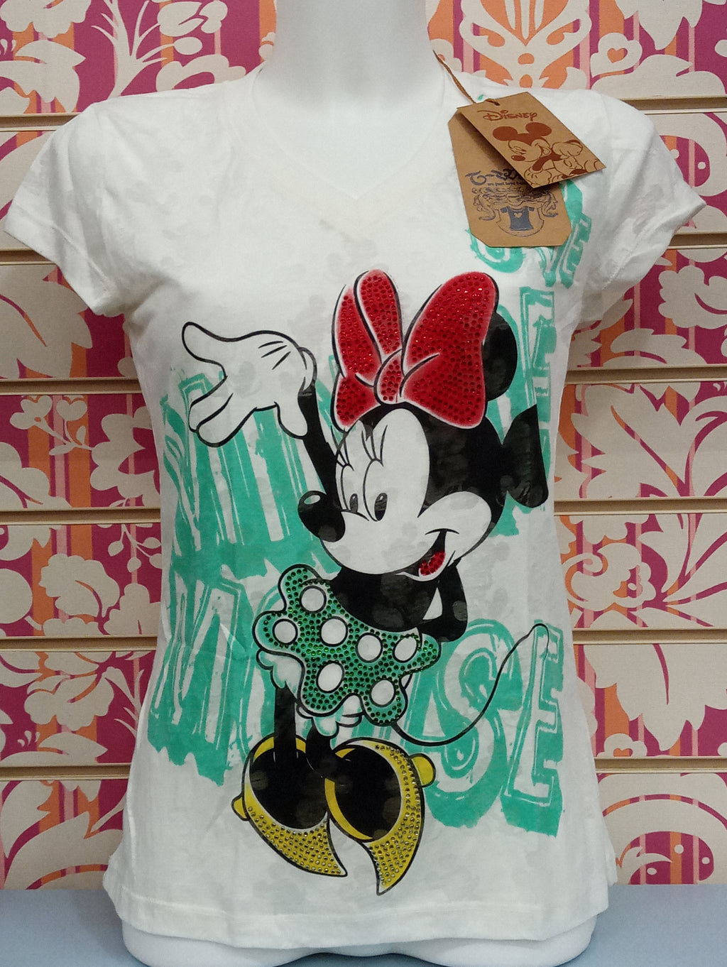 YD033MSW-6001 MINNI LOVE - DISNEY T-SHIRT DONNA - STREET STYLE PRINT stampa personalizzata