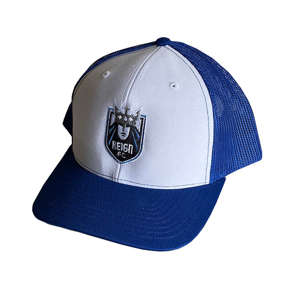 Reign FC Royal & White Shield Trucker Hat