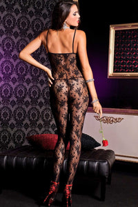 Music Legs Rose lace crotchless bodystocking