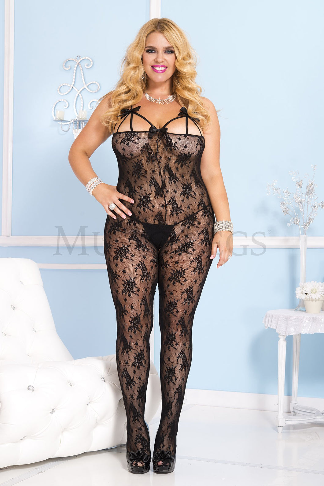 Music Legs Plus Size Rose Lace Crotchless Bodystocking