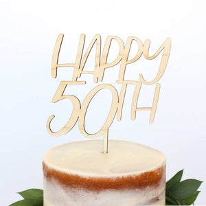 Happy 50th Wood Cake Topper