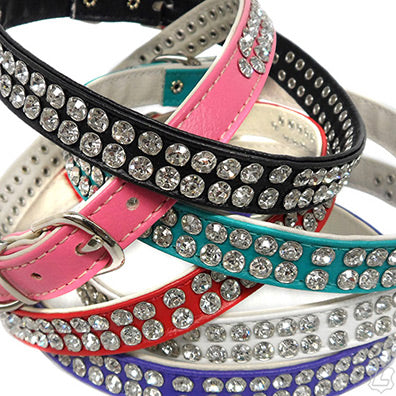 Leather Collar With Rhinestones - 3 Row