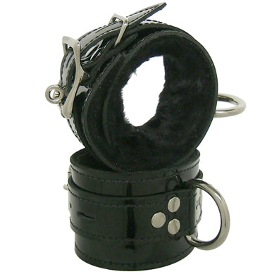 Leather Wrist Restraints With Fleece Lining