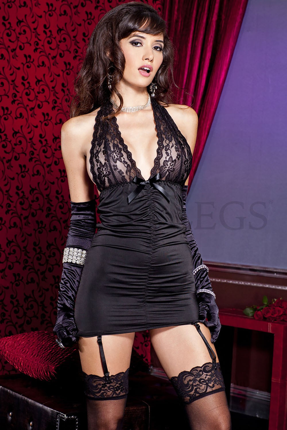 Music Legs Spandex ruched garter dress with lace halter neck