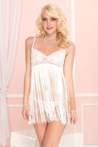 Music Legs Spaghetti strap fringed mini with lace bust