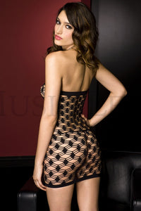 Music Legs Strapless multi strands spandex big diamond net dress