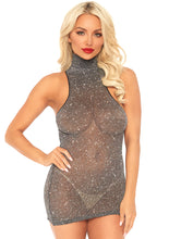 Load image into Gallery viewer, Leg Avenue Lurex shimmer spandex high neck mini dress. Gold or silver