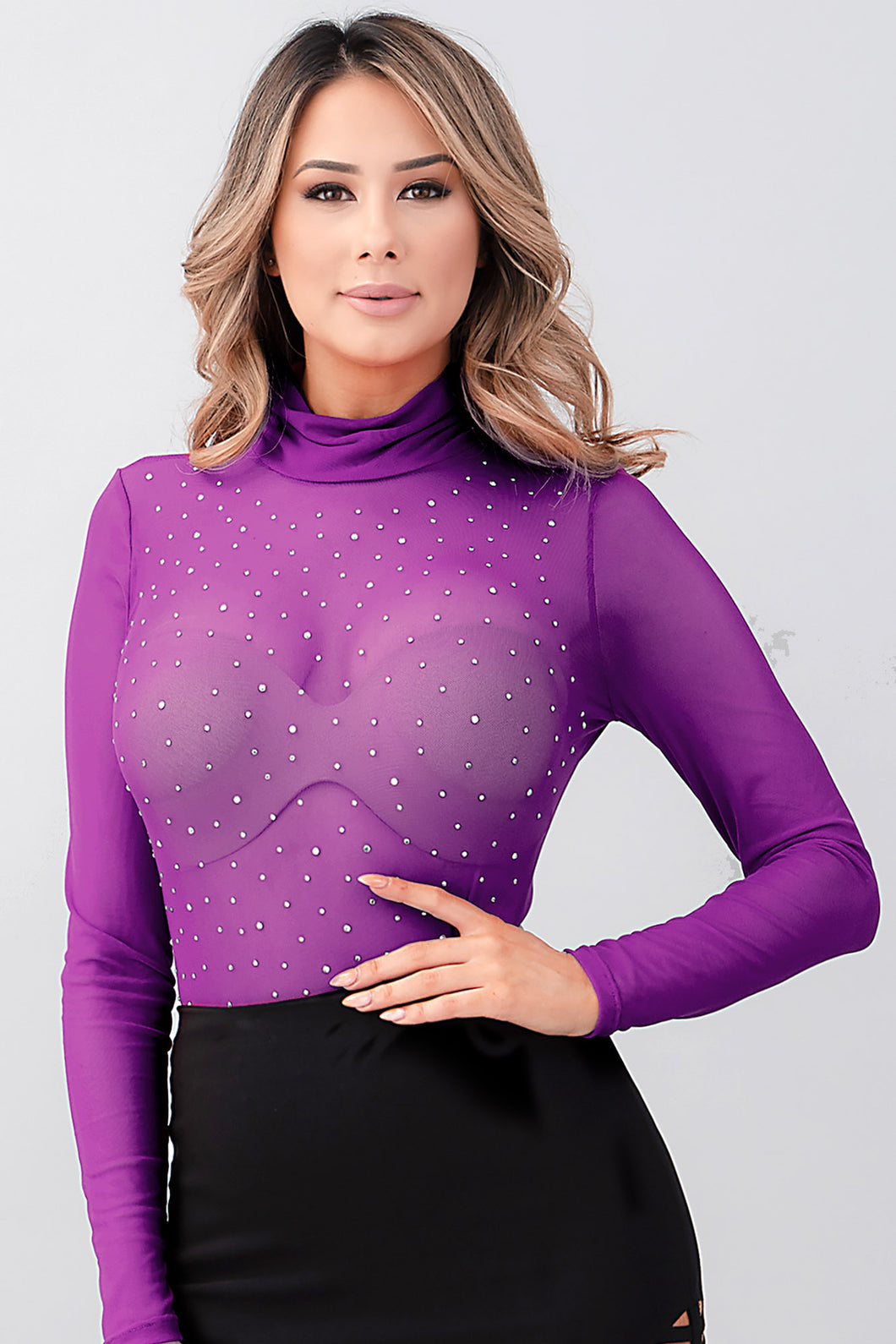 Oh Yes Fashion Long Sleeve Mock Neck Mesh Studded Bodysuit
