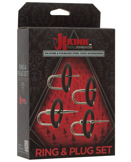 Kink Ring & Plug Set Cock Accessory - Black