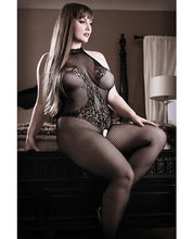 Load image into Gallery viewer, Sheer Fantasy Lace Halter Bodystocking w/Ornate Tattoo Detail Black Queen Size