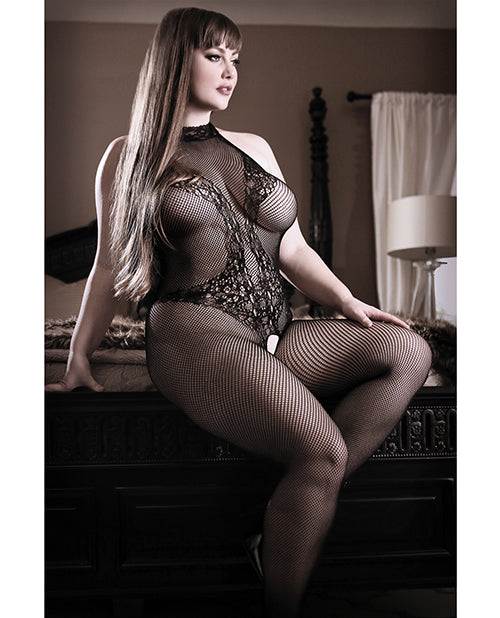 Sheer Fantasy Lace Halter Bodystocking w/Ornate Tattoo Detail Black Queen Size
