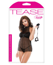 Load image into Gallery viewer, Tease Mesh Baby Doll W/g-string & Handcuffs Black