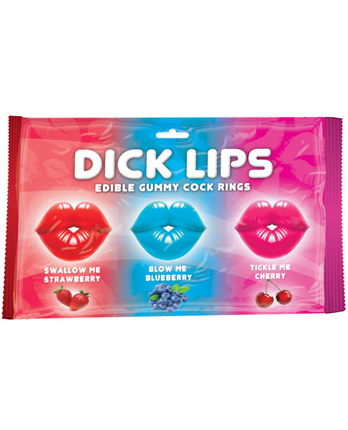 Dicklips Edible Gummy Cock Rings - Asst. Flavors Pack Of 3