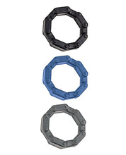 Load image into Gallery viewer, Anal Ese Collection Chain Link Cock Rings - Black-blue-grey