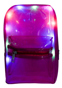 LED Light Up Backpack - Clear, Fucsia