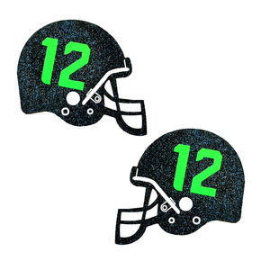12th Man Blue Glitter UV Seahawks Helmet Pasties
