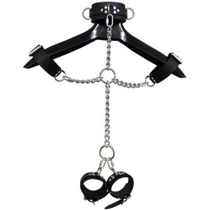 Leather And Shiny Chain Shackle Set