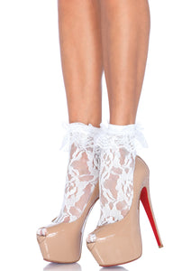 Leg Avenue Lace Anklet With Ruffle - black or white