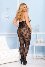 Load image into Gallery viewer, Music Legs Plus size strappy cup bouquet lace deep-V crotchless bodystocking