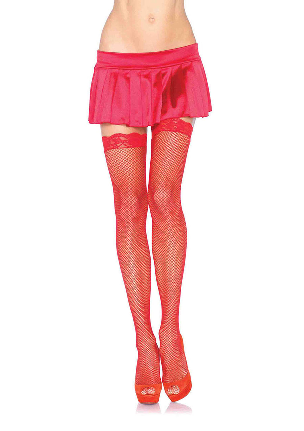 Leg Avenue Fishnet Stockings - Black/Red/White
