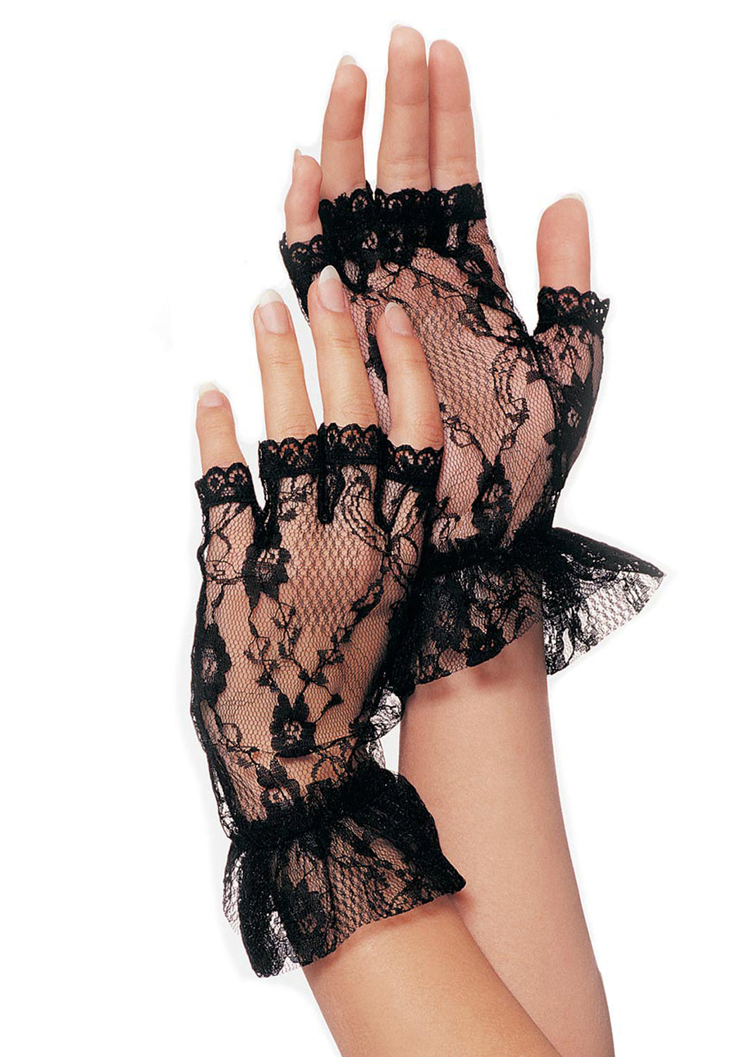 Leg Avenue Fingerless Lace Ruffle Gloves - Black, White