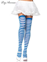 Load image into Gallery viewer, Leg Avenue Striped Nylon Thigh Highs - Asst Colors