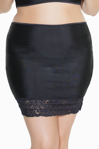 Coquette Plus Size High Waisted Lace Trim Skirt