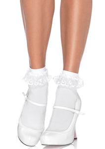 Leg Avenue Anklet With Lace Ruffle  - black or white