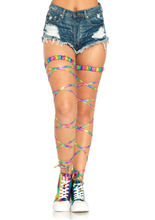 Load image into Gallery viewer, Leg Avenue Lamé Garter Leg Wraps - asst colors