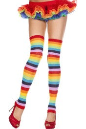 Music Legs Rainbow Footless Acrylic Thigh High Leg Warmers