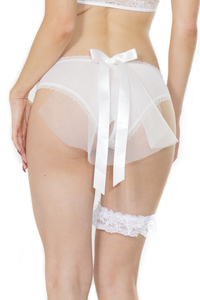 Coquette Plus Size Bridal Crotchless Panty With Tulle Veil