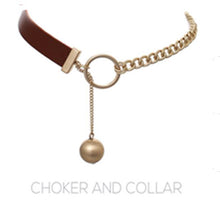 Load image into Gallery viewer, Leather Choker w/chain and drop ball