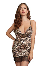 Load image into Gallery viewer, Dreamgirl Animal Print Cowl Neck Satin Chemise