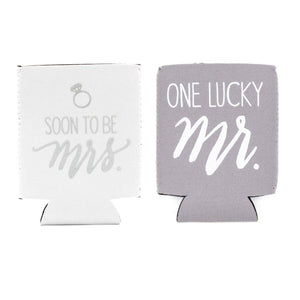 Soon To Be Mrs./One Lucky Mr. Koozie Set by About Face Designs