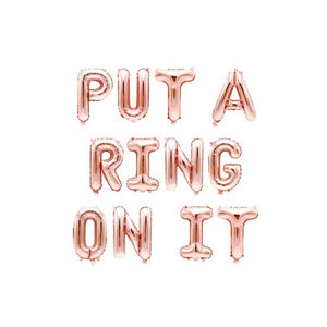 Jamboree 16'' Put a Ring On It Letter Balloon in Rose Gold