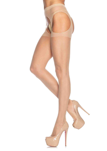 Leg Avenue Sheer Suspender Pantyhose - Black/Nude