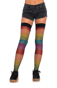 Leg Avenue Rainbow Fishnet Thigh Highs