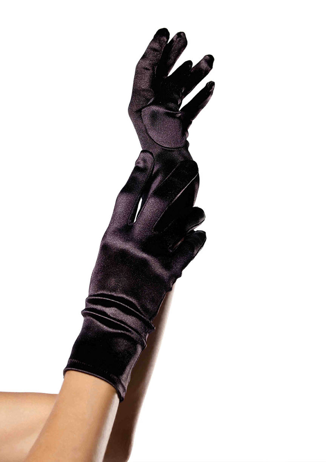 Leg Avenue Wrist Length Satin Gloves - Black, Red, White