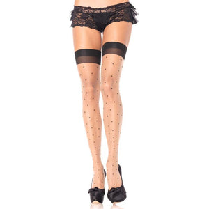 Leg Avenue Polka Dot Spandex Sheer Thigh Highs Plus Size