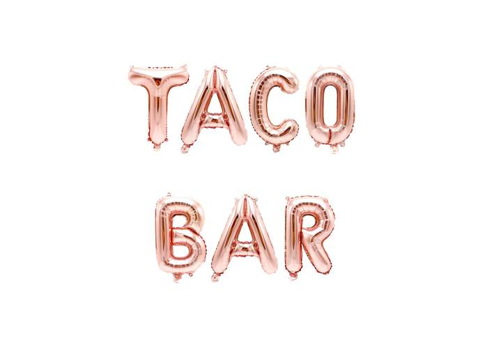 Jamboree Rose Gold Taco Bar Letter Balloon Banner