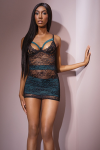 Coquette Chemise Teal & Black
