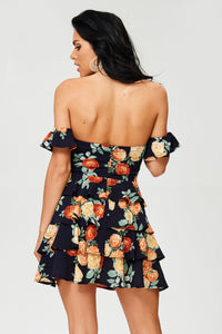 Oh Yes Fashion FLORAL RUFFLE TUBE DRESS W/DETACHED FLUTTER SLEEVE
