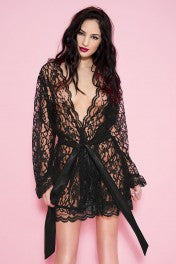 Music Legs Floral Lace Short Robe - Black, White, Red